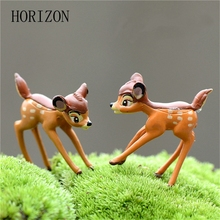 2pcs Artificial Mini Sika Deer Fairy Garden Miniatures Gnomes Moss Terrariums Resin Crafts Figurines For Home Decoration