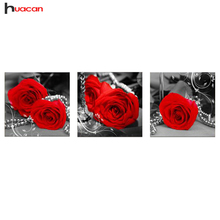HAUCAN 5D DIY Diamond Painting Romantic Flower Rose Pictures of Rhinestones Home Decorative Diamond Embroidery Cross Stitch