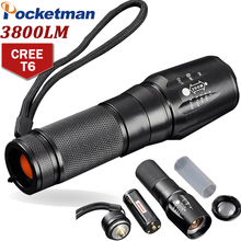 CREE T6 3800 Lumens LED Flashlight Zoomable toche lampe lanterna Torch linternas LED  5 Mode customize Drop shipping ZK93
