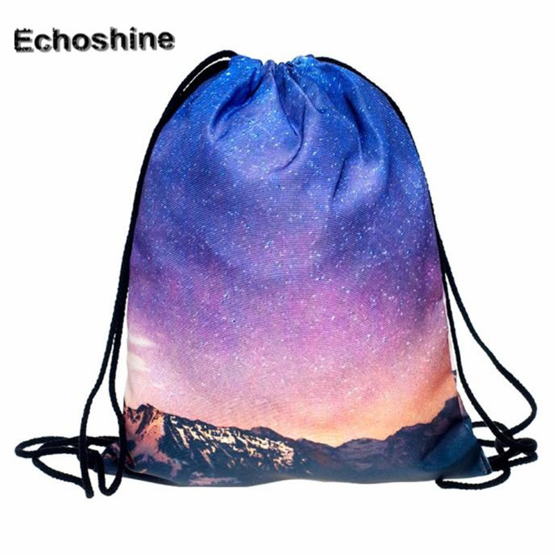 Made In China 2016 Fashion Womens Shoulder Bags 3D Printing Polyester Drawstring Backpack Ladies Rucksack mochilas feminina<br><br>Aliexpress