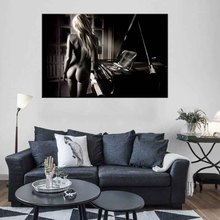 Blonde Naked Girl With Piano Canvas Print Painting Modern Sexy Women Artwork Figure Wall Picture For Home Hotel Decor 1Pcs