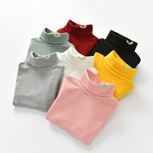 Fall Autumn Children Girl Kids Cotton Long Sleeved Turtleneck T-shirt Embroidered Girls Shirt Pullover Base Tops Tee Child 2-7Y(China)