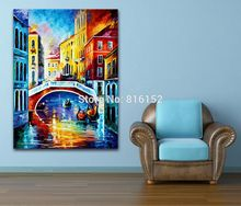 Palette Knife Printed On Canvas Painting USA Italy Venice City Building Landscape Picture Wall Picture for Living Room Decor