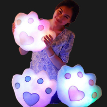 Toys Hot! LED Light Pillow Colorful Flashing Bear Claw Paw Shape Plush Toys Kids Adult New Sale
