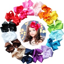16pcs 6 inches Large Big Hair Bows With Sparkly Rhinestones Hair Bow Clips Children Hair Clips Girls Clips(China)