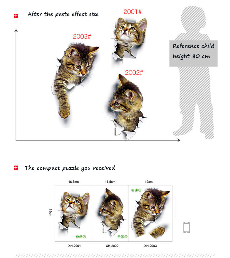 Cartoon animal 3d toilet stickers on the toilet seat cute cats PVC wall sticker bathroom refrigerator door decor stickers decals (47)