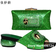 New Arrival African Wedding Shoe and Bag Sets Fashion Green Color High Heels Women Pumps Shoes Italian Matching Shoe and Bag Set