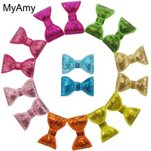 MyAmy 200pcs/lot 2'' embroidered sequin bows applique WITHOUT Clips girls boutique hair bows glitter hair accessories(China)