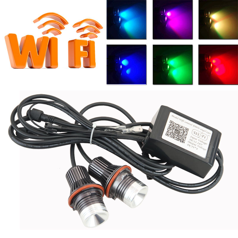 Wifi control 10W cree chip LED Marker Angel Eyes RGB Halo Ring Light for BMW E39 M5 E87 E60 E63 E64 E65 E66 X3 X5 E53<br><br>Aliexpress
