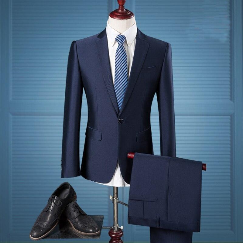 (Jacket+Pants)2018 New Brand Luxury Men Wedding Suit Male Blazers Slim Fit Men Suits Blazer with Pants Plus Size 3XL