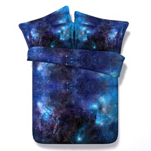3D Galaxy Print Comforter Bedding Sets Twin Full Queen Super Cal King Size Bed Covers Bedclothes Universe Outer Space Blue Boy's