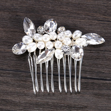 Handmade Romantic Small White Pearl Bridesmaid Headdress Clear Crystal Bride Wedding Party Head Accessories Bridal Hair Pieces(China)