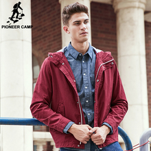 Pioneer Camp brand jacket men autumn spring top quality 100% cotton male jacket fashion casual red deep blue male coat 611627