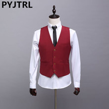 PYJTRL Autumn New England Casual Men's Wedding Waistcoats Gules Red Dress Vests For Men Fashion Business Tide Suit Vest(China)