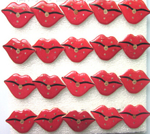 50 Pcs Popular Red Lips Led Badge Flashing Brooch kid gifts Party Supplies Light Children Party Decoration kid gifts(China)