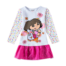 Nova kids wear children dresses Dora Long Sleeve Autumn Spring Kids Dress for Girls Clothes