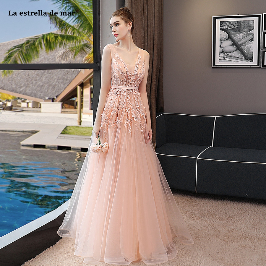 Vestido madrinha2018 new sexy V neck sees Tulle peach mint green bridesmaid  dresses long cheap robe d920271ae14d