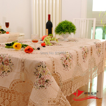 Beige Cotton Hand Crochet Tablecloth Rectangle Embroidery Table Cloths Hollow Out Flower Table Cover For Wedding Decoration(China)