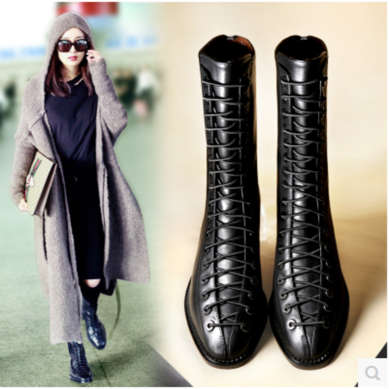 2017 Women Boots Casual Party Ankle Boots Martin Motorcycle Army Military Boots cross strap Winter Plush Boots Botas Mujer 35-39<br>