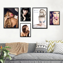 beautiful girls blond hair picture canvas painting fashion glamorous woman makeup wall art picture print painting HD2136