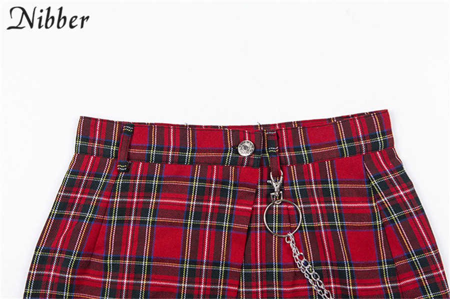Nibber spring Vintage red Plaid mini skirts Women 19 summer fashion office lady club party casual short pleated skirts mujer 14