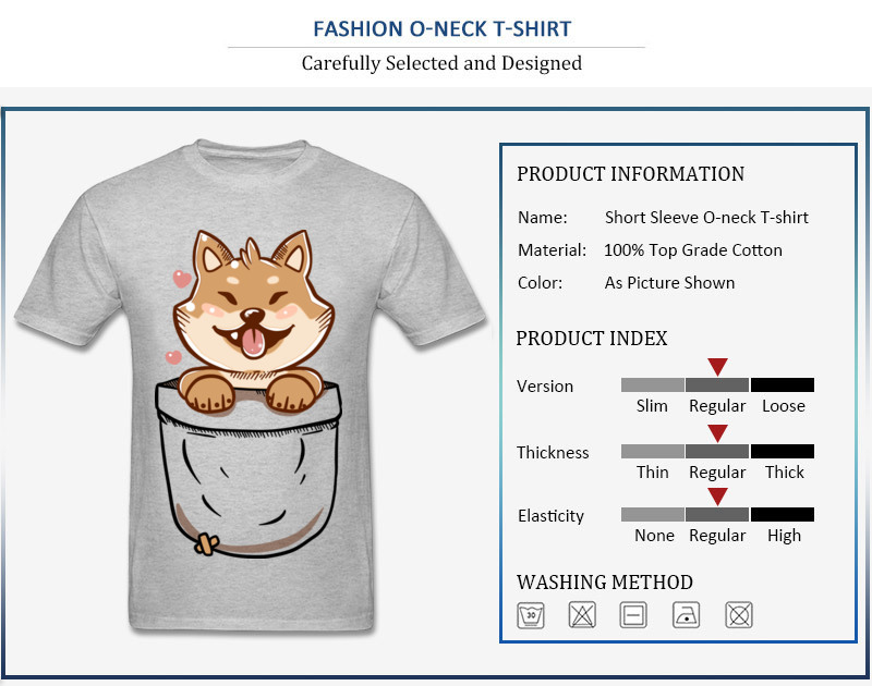 Group Discount Casual Tops T Shirt Crewneck Summer 100% Coon Short Sleeve T Shirt for Men Birthday Tee-Shirts Shiba Inu in your Pocket Tee