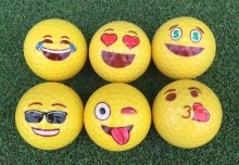 10pcs 2017 New Emoji Funny Golf Balls 12 Styles Yellow Ball Golf Game Training Gift Accessories