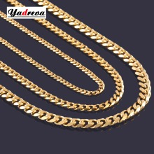 High Quality Width 3.5mm/ 5mm/7mm Stainless Steel Gold Cuban Chain Waterproof Men Curb Link Necklace Various Sizes(China)