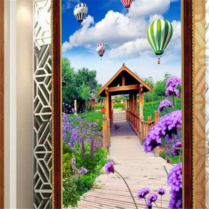 3D Custom Wallpapers Modern Romantic Lavender Mural Balloon Photo Murals Landscape Bridge Wall Papers for Living Room Home Decor<br>