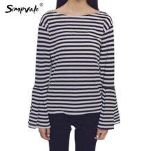 SIMPVALE Spring Black White Striped Loose Women Casual Long Flare Sleeve O-Neck Tee Lady Soft Fabrics(China)