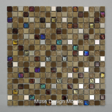 Retro Spian Marble Stone mixed Metal electroplating colorful Glass mosaic tile for Kitchen Bathroom bar restaurant wall floor