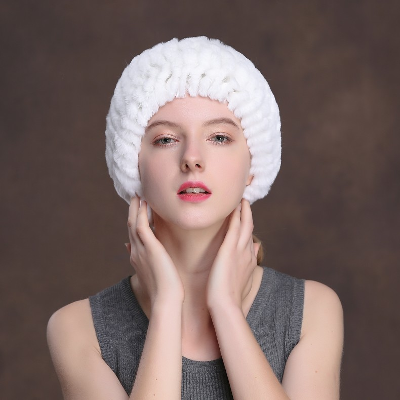 Winter Fur Headbands For Women Knitted Rex Rabbit Fur Scarf Hats Natural Fur Ring hairband Neckwarmer female (14)