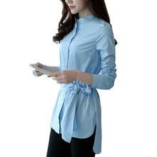 Mara Alee Women shirts long tunic blue tops for women office wear ladies blouses with bows tie WD005