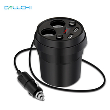 Voltage LED Display Screen 2 Sockets Cigarette Lighter Charger Universal Dual USB Cup Car Charger For xiaomi iphone 5 6 7 S Plus(China)