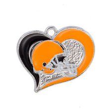 New Arrivals Enamel Sports Heart Pendant USA football Cleveland Browns Team logo Pendant Necklace Jewelry(China)