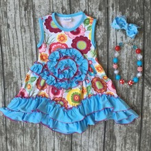 baby girls Summer spring dress outfits girls floral dress girls boutique summer dress blue wave dress with accessories(China)