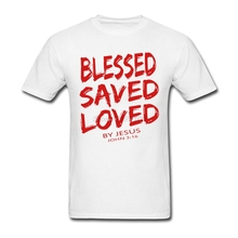 Men's Funny Christian Jesus BLESSED SAVED LOVED John 3 16 Bible Lines Shirt Short Sleeve Thanksgiving Day Custom Tee Shirts Boy