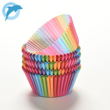 LINSBAYWU Rainbow color 100 pcs cupcake liner baking cup cupcake paper muffin cases Cake box Cup tray cake mold decorating tools