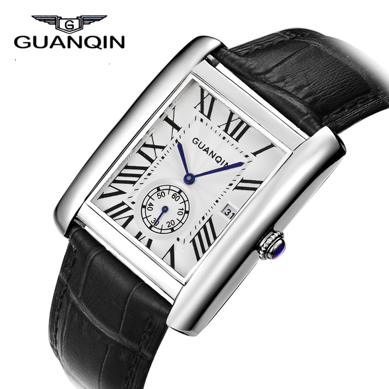 New GUANQIN Watch Men Square Quartz Watches 30m Waterproof Retro Leather Strap Watch Blue Needle Tonneau Wristwatches Slim Clock<br>