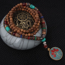 fashion evade enamell ethnic necklace,life tree vintage plate Nepal jewelry,handmade sanwood bodhi beads vintage necklace(China)
