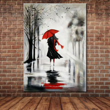 Unframed 100% Hand Painted Oil Painting Red Umbrella Black Dress Sexy Girl Modern Figure Painting On Canvas Home Decor Picture(China)