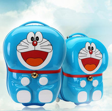 15Inch Baby Boys Girls 3D Doraemon Suitcase On Wheels/Kids 19Inch ABS Cartoon Hardside Luggage/Children Travel Trolley Case