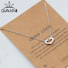 QIMING 925 Sterling Silver Heart Necklaces & Pendants Pure Sterling Silver Choker Love Necklace Jewelry Collar Colar de Plata