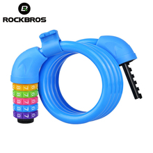 ROCKBROS Bicycle 5 Letters Code Lock Combination Coiled Bike Steel Cable Lock Cycling Password Lock Bicycle Lock Accessories