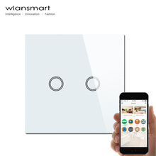 Wlansmart EU 2Gang phone Remote Wall light Switch control by broadlink rm pro Smart home automation Switch Touch Screen Panel