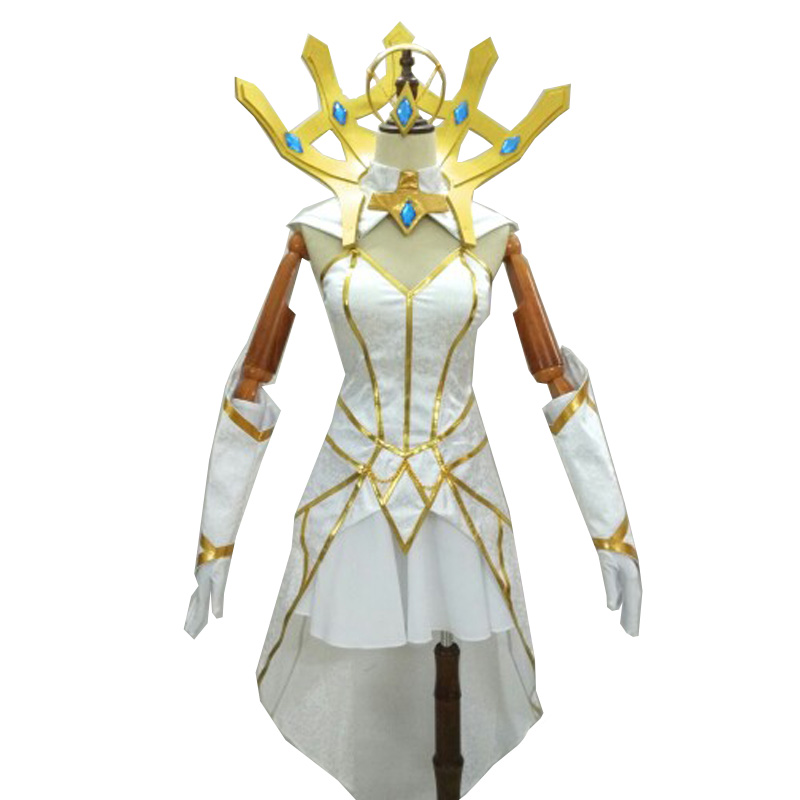 Coshome LOL Lux Cosplay Wigs Costumes Women White Dress Girls Halloween Summer Outfit Uniforms (7)