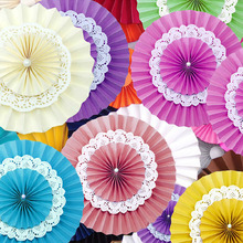 5pcs/lot 6 inch 15cm Party Paper Fan 3 Layers Tissue Paper Fan Crafts  Wedding Lantern Festive Decoration Holiday Supplies