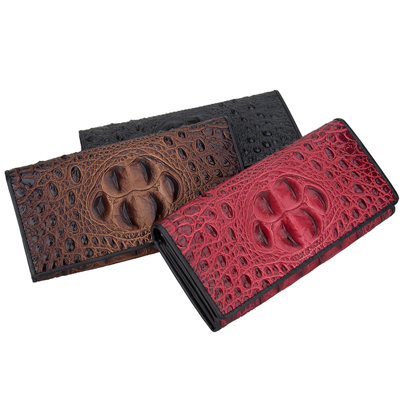 Cow Leather Long Wallets Coin Pocket Vintage Female Purse Function Brown Genuine Leather Women Wallet with Card Holders<br>