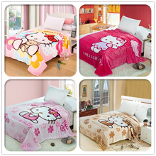 Hello Kitty Blanket Cartoon Coral Fleece Blankets on The Bed Beautiful Blanket Warm Winter Sofa Travel Blankets Queen 150x200cm