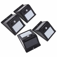 New 4pcs Outdoor Waterproof 20 LED Rechargeable Solar Power PIR Motion Sensor Wall Light for Garden / Yard / Driveway